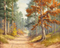 Texas:Early Texas Art - Impressionists, DOLLIE NABINGER (1905-1988). Untitled Red Oak and Country Road. Oilon canvasboard. 16 x 20 inches (40.6 x 50.8 cm). Signed ...