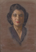 Fine Art - Painting, American:Contemporary   (1950 to present)  , AARON SHIKLER (American b.1922). Portrait of a Woman, circa 1950s. Pastel on paper. 25 x 19-1/2 inches (63.5 x 49.5 ...