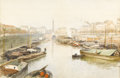 Fine Art - Painting, European:Antique  (Pre 1900), Attributed to JEAN HENRI ZUBER (French 1844-1909). Seine River,Paris. Watercolor on paper. 11in. x 17-1/2in.. Signed at...