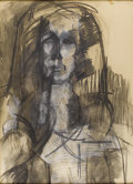 Fine Art - Painting, European:Other , S. KAPLAN. Female Portrait. Charcoal on paper. 29-1/2 x 21 inches (74.9 x 53.3 cm) sight. Signed lower left: S. KAPLAN...