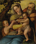 Fine Art - Painting, European:Antique  (Pre 1900), After AGNOLO BRONZINO (Italian 1503-1572). Holy Family withSaint John the Baptist. Oil on panel. 31 x 25-1/2 inches (78...
