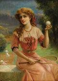 Fine Art - Painting, European:Antique  (Pre 1900), ÉMILE VERNON (British 1872-1919). Tennis Anyone. Oil oncanvas. 36 x 26-3/8 inches (91.4 x 66.7 cm). Signed lower left: ...