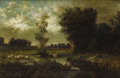 19th Century European:Landscape, JOSEPA COLE (Italian Nineteenth Century). Landscape with Sheep Grazing. Oil on canvas. 16-3/4 x 24-3/8 inches (42.5 x 61...