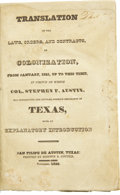 Books:First Editions, Stephen Austin: Translations of the Laws, Orders, and Contracts, on Colonization,...