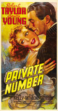 "Movie Posters:Drama, Private Number (20th Century Fox, 1936). Three Sheet (41"" X 81"")...."