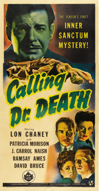 "Calling Dr. Death (Universal, 1943). Three Sheet (41"" X 81"")"