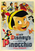 "Movie Posters:Animated, Pinocchio (RKO, 1940). Poster (40"" X 60""). ..."