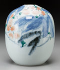 Asian:Japanese, A Japanese Studio Porcelain Squat Vase, 20th century. Marks:(character marks ). 8-1/2 inches high (21.6 cm). ...