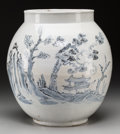 Asian:Other, A Large Korean Blue and White Ceramic Jar with Landscape and CraneMotif. 16 inches high (40.6 cm). ...