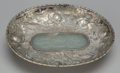 Asian:Chinese, A Chinese Repoussé Metal Dish with Inset Jade Plaque, 20th century.Marks: CHINA. 1-1/4 h x 5-1/2 w x 4-1/2 d inches (3....