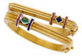 Estate Jewelry:Bracelets, Ruby, Sapphire, Emerald, Gold Bracelets. ... (Total: 2 Items)
