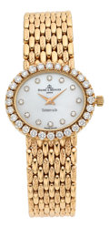 Estate Jewelry:Watches, Baume & Mercier Lady's Diamond, Mother-of-Pearl, Gold Watch,retailed by Tiffany & Co.. ...