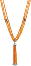 Estate Jewelry:Necklaces, Orange Sapphire, Diamond, Platinum Necklace, Loree Rodkin. ...