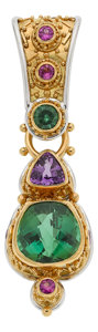 Estate Jewelry:Pendants and Lockets, Multi-Stone, Platinum, Gold Enhancer-Pendant, Janet Alix. ...