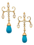 Estate Jewelry:Earrings, Turquoise, White Zircon, Gold Earrings, Paula Crevoshay. ...(Total: 2 Items)