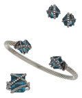 Estate Jewelry:Suites, Topaz, Diamond, Sterling Silver Jewelry Suite, David Yurman. ...(Total: 4 Items)