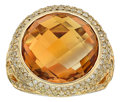 Estate Jewelry:Rings, Citrine, Diamond, Colored Diamond, Gold Ring. ...