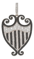 Estate Jewelry:Pendants and Lockets, Colored Diamond, Diamond, White Gold Pendant, Rhonda Faber Green....