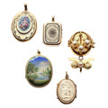 Estate Jewelry:Pendants and Lockets, Victorian Painted Portrait, Freshwater Cultured Pearl, Seed Pearl,Enamel, Gold Locket-Pendants. ... (Total: 5 Items)
