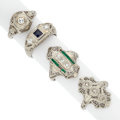 Estate Jewelry:Rings, Art Deco Diamond, Synthetic Sapphire, Glass, White Gold Rings. ... (Total: 5 Items)