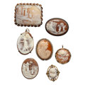 Estate Jewelry:Cameos, Shell Cameo, Seed Pearl, Silver, Silver Vermeil, Base Metal Jewelry. ... (Total: 7 Items)