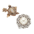 Estate Jewelry:Rings, Diamond, Cultured Pearl, Gold Rings. . ... (Total: 2 Items)