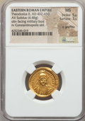 Ancients:Roman Imperial, Ancients: Theodosius II (AD 402-450). AV solidus (4.48 gm)....