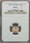 British West Indies, British West Indies: British Colony. George IV 1/16 Dollar 1822MS61 NGC,...
