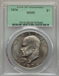 Eisenhower Dollars, 1974 $1 MS66 PCGS. PCGS Population (170/1). NGC Census: (59/1). Mintage: 27,366,000. ...