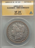 Morgan Dollars, 1893-CC $1 -- Cleaned, Rim Damaged -- ANACS. VF20 Details. NGC Census: (173/2822). PCGS Population (278/5355). Mintage: 677...