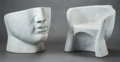 Furniture , A Pair of Art Modernist White Marble Face Chairs, late 20th century. 28 h x 30 w x 25 d inches (71.1 x 76.2 x 63.5 cm). ... (Total: 2 Items)