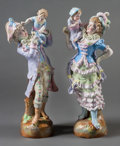 Ceramics & Porcelain, Continental:Antique  (Pre 1900), A Pair of German Porcelain Figures, late 19th century. Marks: JH, (impressed numbers). 22-3/4 inches high (57.8 cm) (tal... (Total: 2 Items)