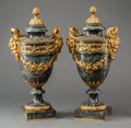 Decorative Arts, French:Other , A Pair of French Neoclassical Gilt Bronze Mounted MarbleCassolettes, 19th century. 21-3/4 h x 11 w x 7-1/2 d inches (55.2x... (Total: 2 Items)