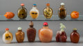 Asian:Chinese, A Group of Twelve Chinese Various Snuff Bottles. 3-1/2 inches high(8.9 cm) (largest). ... (Total: 12 Items)