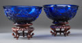 Asian:Chinese, A Pair of Wheel-Carved Blue Beijing Glass Bowls with Stands. 2-7/8 h x 6-1/2 d inches (7.3 x 16.5 cm) (without stand). ... (Total: 4 Items)