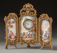 A Viennese Enameled Miniature Three-Panel Screen with Clock, 20th century 7-1/2 h x 7-1/2 w inches (19.1 x 19.1 cm