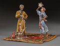 Paintings, An Austrian Cold Painted Bronze Figural Group: Hookah Smoker and Dancer, late 20th century. Marks: (fleur-de-lis...
