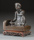 Asian:Japanese, A Japanese Patinated Bronze Seated Man with Wooden Stand, lateMeiji Period. 10-3/4 inches high (27.3 cm) (excluding base). ...