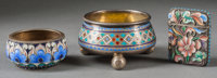 A Group of Three Russian Enameled Silver Smalls, late 19th century Marks: (various marks) 1-1/4 h x 2-1/4 d inc
