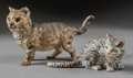 Bronze:European, Two German Cold Painted Bronze Cats, 20th century. Marks tosmaller: GERMANY, WIEN. 4-3/4 inches high (12.1 cm)(taller)... (Total: 2 Items)
