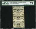 Fractional Currency:Third Issue, Fr. 1226 3¢ Third Issue PMG About Uncirculated 53 Uncut Vertical Strip of Three.. ...