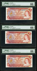 Canadian Currency: , BC-47a $2 1974 Low Serial Number Trio. ... (Total: 3 notes)