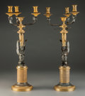 Decorative Arts, French:Lamps & Lighting, A Pair of French Empire-Style Gilt Bronze Figural Four-Light Candelabra, late 19th century. 18-1/4 inches high (46.4 cm). ... (Total: 2 Items)