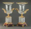 Decorative Arts, Continental:Other , A Pair of Baccarat-Style Cut-Glass Urns with Gilt Bronze Mounts andRouge Marble Bases, 20th century. 18-1/2 inches high (47... (Total:2 Items)