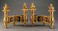 Decorative Arts, French:Other , A Pair of French Neoclassical-Style Gilt Bronze and Enamel Chenets,late 19th century. 11-1/2 h x 13 w x 6 d inches (29.2 x ... (Total:2 Items)