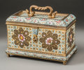 Decorative Arts, French:Other , A French Gilt Bronze and Champlevé Table Casket, 19th century.6-1/2 h x 7-1/2 w x 4-1/4 d inches (16.5 x 19.1 x 10.8 cm). ...