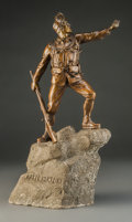 Bronze:European, Continental School (20th Century). Soldier on Boulder.Bronze with brown patina, painted stone. 14 inches high (35.6cm)...