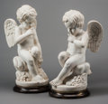 Decorative Arts, Continental, A Pair of Carrara Marble Putti on Bronze Bases, 20th century. 24inches high (61.0 cm) (without base). ... (Total: 2 Items)