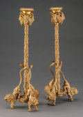 Decorative Arts, Continental:Lamps & Lighting, A Pair of Charles X-Style Gilt Bronze Figural Candlesticks, 20thcentury. 12-1/2 inches high (31.8 cm). ... (Total: 2 Items)