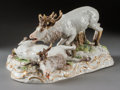 Ceramics & Porcelain, Continental:Other , A Meissen Porcelain Group: Battling Elk, circa 1900. Marks:(crossed swords in underglaze blue), S. 173, 153, ...